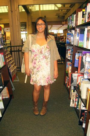 pink Tikirani dress - brown Carolyn Taylor cardigan - brown Target boots - beige
