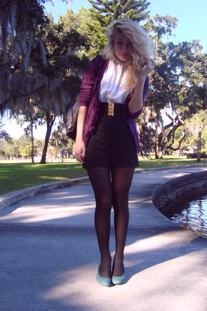 Urban Outfitters heels - high-waisted Bedo shorts - Anthropologie cardigan