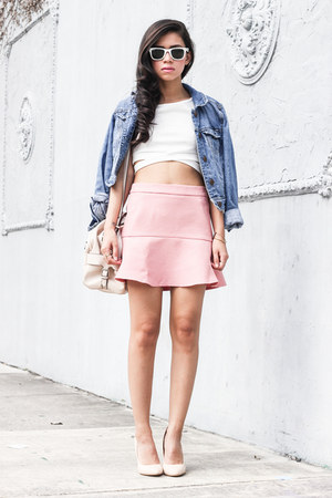 denim American Eagle jacket - bubble gum Zara skirt - cropped top top