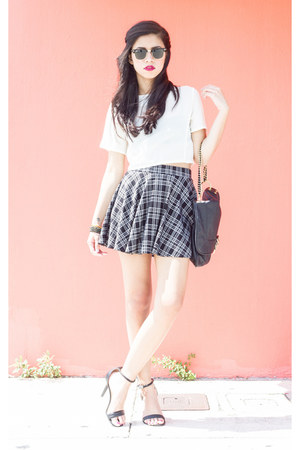 plaid Forever 21 skirt - Olivia and Joy bag - crop top The Editors Market top