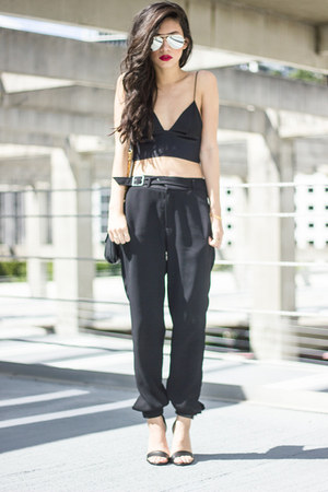 aviator 80s purple sunglasses - silk t by alexander wang top - Zara pants