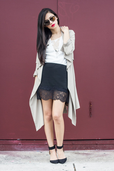 lace Cooper and Ella top - UNIF coat - Zara skirt