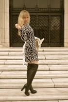 black calvin klein boots - ivory JB by Julie Brown dress