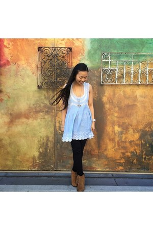 Forever21 necklace - free people dress - free people jeans - Michael Kors watch