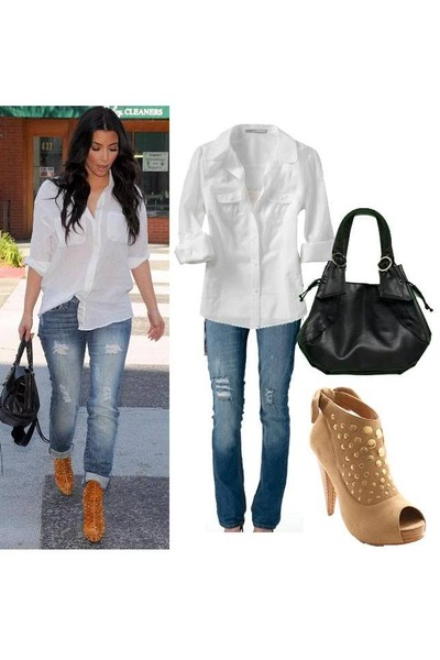 white blouse - jeans