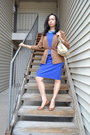 Blue-calvin-klein-dress-brown-forever-21-cardigan-bcbg-pumps