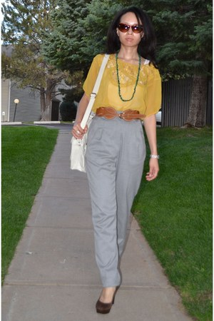 mustard mustard yellow Forever 21 blouse - white Aldo bag