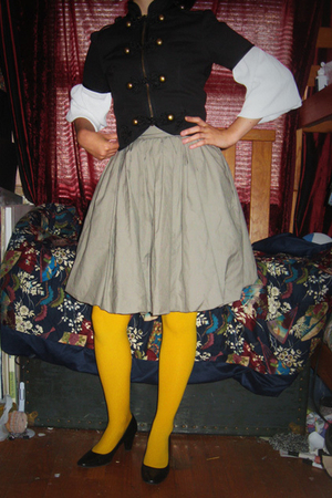 forever 21 jacket - homemade blouse - H&M skirt - Target stockings - etienne aig