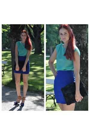 blue Ebay shoes - black DIY bag - aquamarine DIY blouse - blue Humana skirt