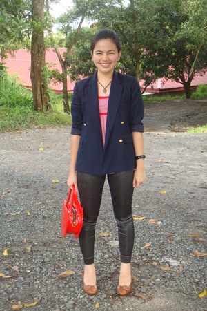 black leggings - blue blazer - red heart bag Bazaar - red human top