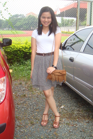 Charles & Keith belt - kashieca blouse - thrifted skirt - CLN shoes