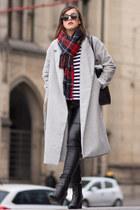Long gray coat, striped t-shirt, tartan scarf