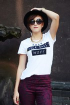 Parfois necklace - round Magia Zakupów sunglasses - Mi lazy t-shirt - H&M pants