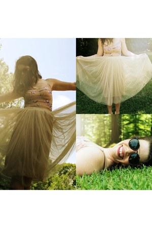 tan tulle skirt Tulle Skirt skirt - eggshell floral bralette free people bra