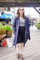 navy long coat Marks and Spencer coat - dark brown leather oxford Topshop boots