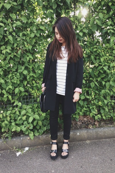 Primark bag - H&M jeans - thrifted blazer - striped Primark t-shirt