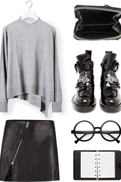 black leather buckle balenciaga boots - black all saints Accessorize skirt