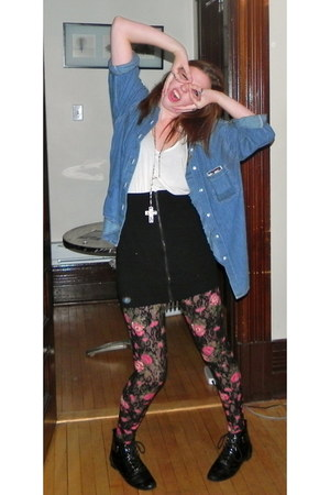 denim shirt thrifted vintage shirt - floral H&M tights - Talulah skirt