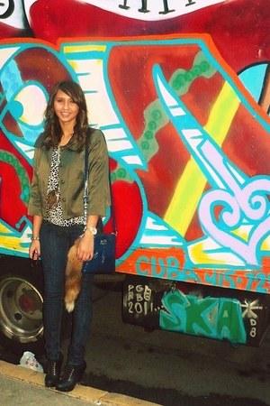 brown leopard print Sparkle&Fade blouse - black boots - navy coach bag