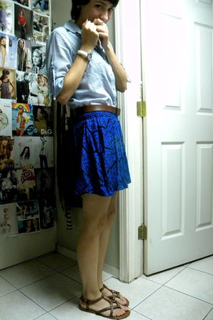 Forever 21 skirt - Gap shirt - Gap belt - Aldo shoes - Forever 21 earrings