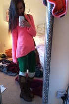 H&M sweater - green Abercrombie pants