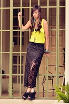 neon Forever21 top - lace maxi the Foz skirt - chunky grazie wedges