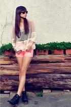 black black Nava boots - bubble gum mid waist new pink shorts