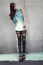 sky blue denim Hipstop vest - black bandage dep store leggings