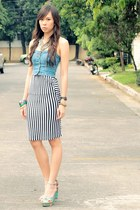 pencil striped dept store skirt - denim corset Topshop top - floral So FAB heels