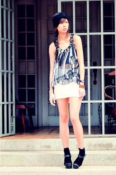 black sheer Forever 21 top - white bodycon Surplus skirt - black black Graxie we