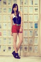 red The Second Shop shorts - platform Soule Phenomenon wedges - corset Soule Phe