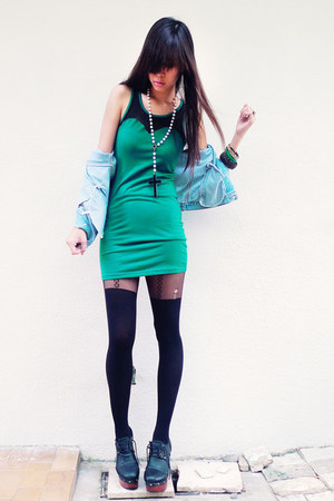 teal dep store dress - black two toned Topshop tights - black wooden Summer Saul