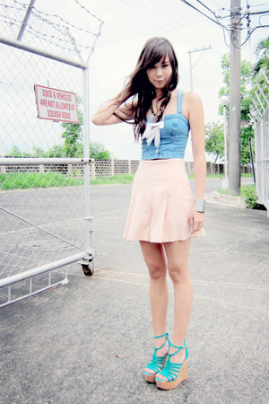 sky blue cprset Topshop intimate - light pink shorts vintage skirt - aquamarine