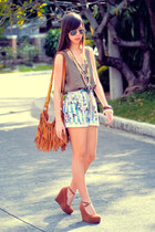 burnt orange fringe Bread and Butter bag - light blue floral thrifted shorts - s
