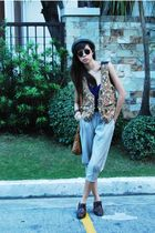 The Second Shop vest - pants - random blouse - Kenneth Cole shoes - Ray Ban sung
