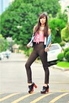 Anne Taylor top - sky blue vintage vest - vintage pants - Summersault shoes - Ja