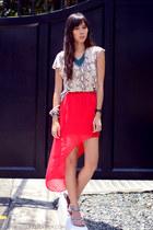 asymmetrical Pink Manila skirt - snake skin Naf Naf sandals