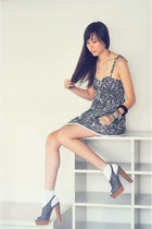 gray lace random brand dress - white basic random brand socks - charcoal gray pl