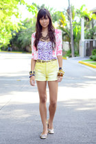 cropped floral cardigan - light yellow high waist Forever 21 shorts