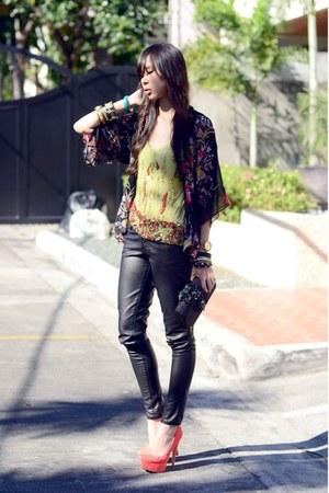 pumps urban og heels - sequin BESTFINDS THRIFTSHOP top - leather f21 pants