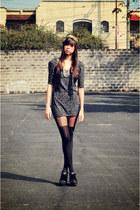 heather gray animal printed cotton on dress - black black Topshop tights - black