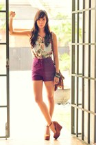 bronze fringe Bread and Butter bag - magenta high waist tss shorts - tawny chunk
