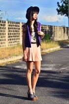peach skort vintage shorts - deep purple buttoned vintage vest
