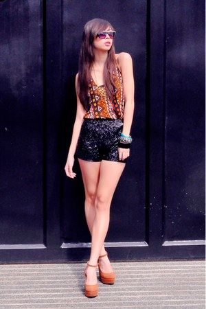 carrot orange tribal Forever 21 top - black sequins Forever 21 shorts