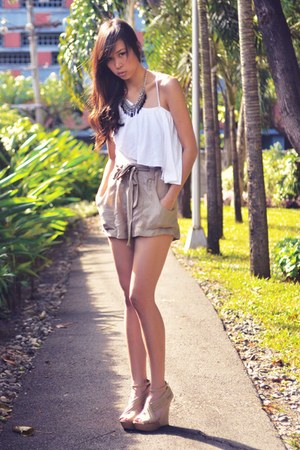 white paperbag Cocobelle shorts - camel asymmetrical Shopaholic top - tan criss
