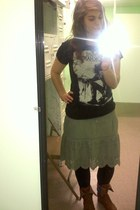 brown boots - black tights - olive green American Eagle skirt - black t-shirt