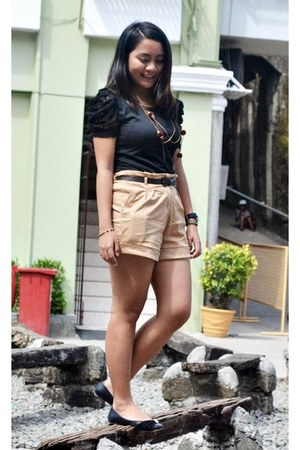 black Tomato top - camel Tomato shorts - black Celine flats - black Esprit watch