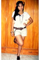 majesticlegon vintage blouse - Natasha shorts - Topshop belt - parisian shoeses