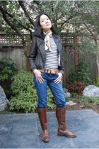JCrew sweater - Doma jacket - Express jeans - JCrew belt - Rieker boots