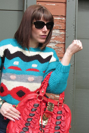 vintage sweater - Miu Miu purse - kate spade sunglasses